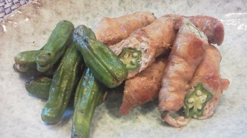 Cooking:オクラをお肉で巻く
