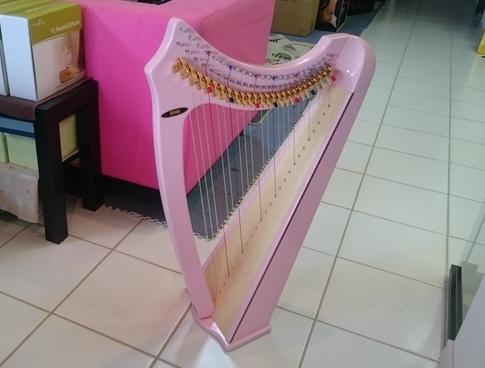 ハープ色々。 見ているだけで幸せになる癒しのピンク色。