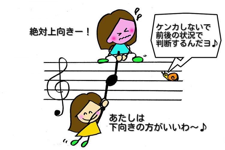 音符の「棒」の向き 中央の「シ」を境に前後の状況で考える
