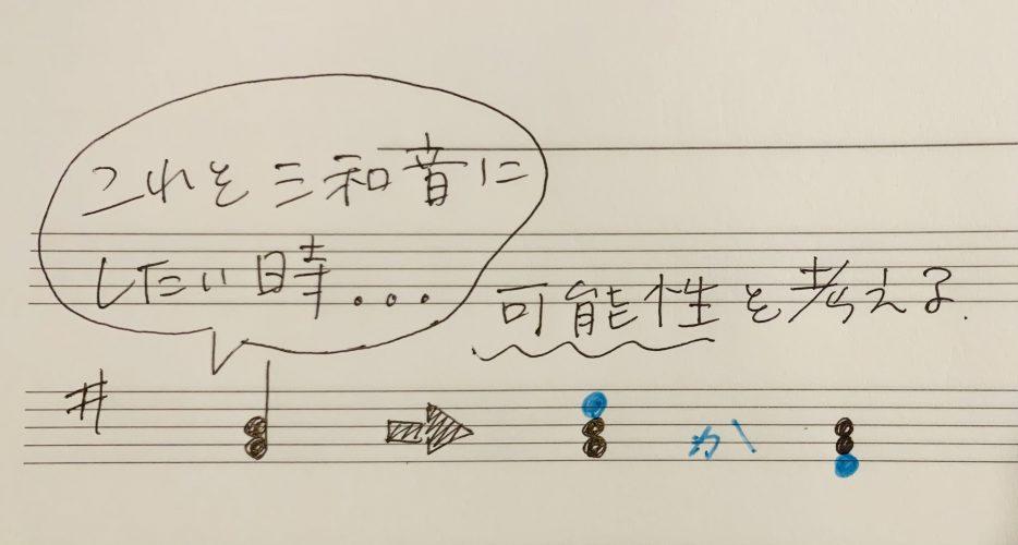 左手の音が二つしかない楽譜だとコードが判別できない→コードの見つけ方